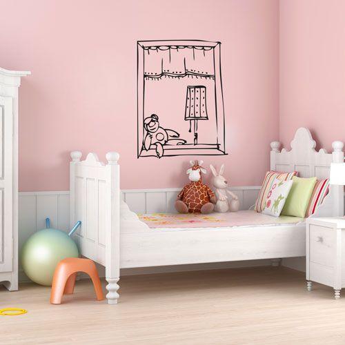 Vinilo decorativo que simula una ventana con un osito for Vinilo habitacion infantil