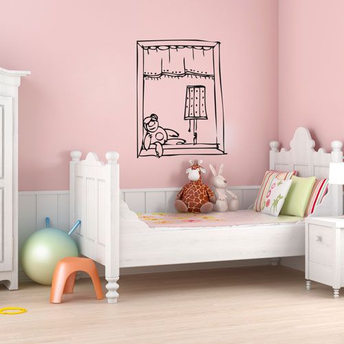 Vinilo decorativo que simula una ventana con un osito for Vinilos habitacion infantil
