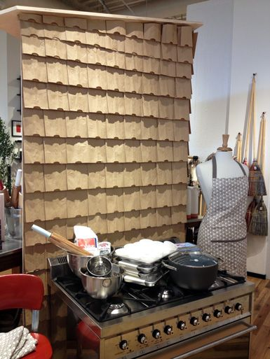 layered brown paper bags wall treatment. such a cute idea...even though this picture isn't one of my jobs, I have done this a few times.  Fun.