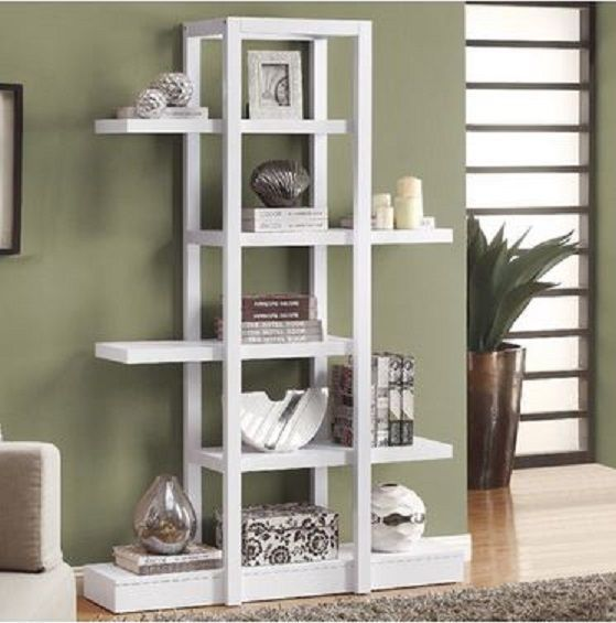 NEW Bookcase wood White Melamine Shelves Contemporary, Modern, Sleek Display