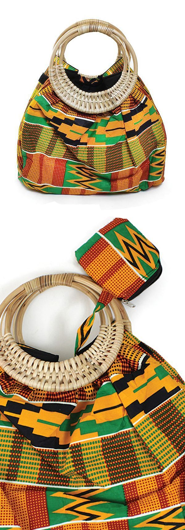 Colors Of Ghana Kente Purse - Celebrate African culture and history with this beautiful purse made in Ghana with traditional African patterns.  Each purse is handmade by African artisans and displays the bold and bright colors of the Ghana people: yellow, green, red, orange, and black.  This handbag is perfect as a gift, or keep it for yourself!  #handbag #purse #africa #african #africanfashion #blackhistorymonth #ghana #jamaican #jamaica #pattern #surfacedesign #dressup