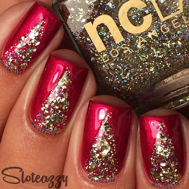 Sparkly Red & Gold Nail Art Design