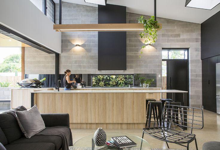 Kitchen - window, range, cinder block wall