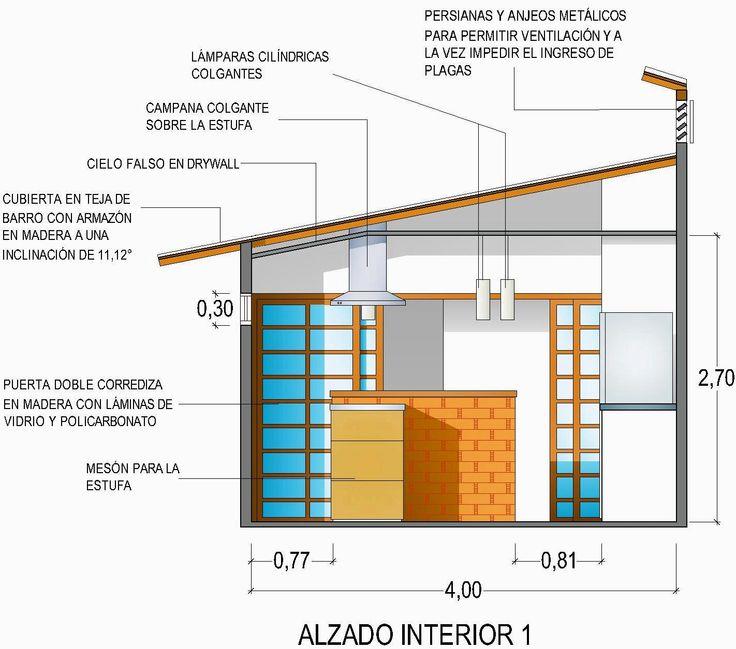 Casa G+A: Alzado interior cocina / G+A House: Kitchen interior facade