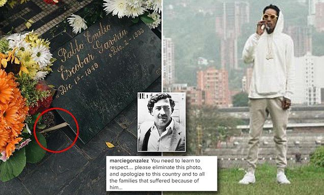 Showing he's gangster Wiz Khalifa visits Pablo Escobar's grave sparking outcry | Daily Mail Online