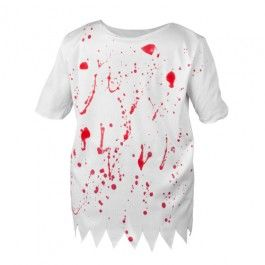 This gory, bloody t-shirt is not for the squeamish! Use this t-shirt as the starting point to your zombie, blood-thirsty look! Available in one size.