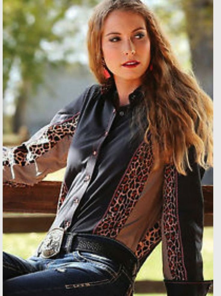 MORE SIZES AVAILABLE! CRUEL GIRL LEOPARD RODEO Western Barrel ARENA FIT SHIRT COWGIRL NWT LARGE #CruelGirl #Western