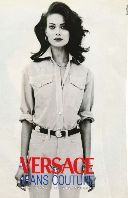 Shalom Harlow in Versace Jeans Couture 1996 photographed by Steven Meisel