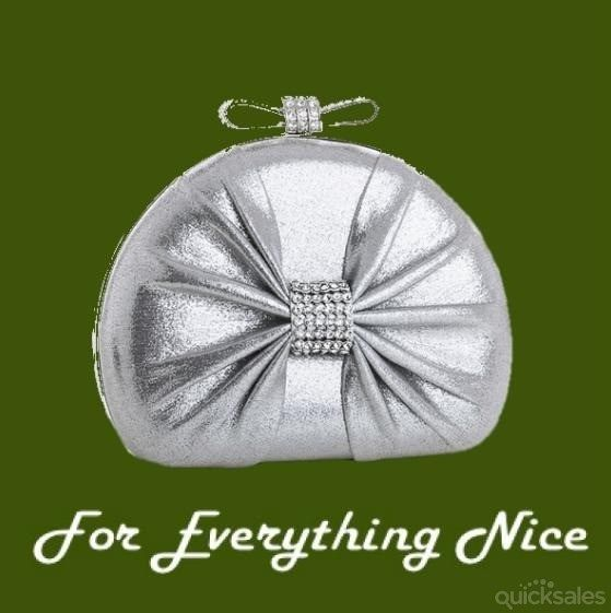 Silver Sparkle Bejeweled Bow Clasp Minaudiere Evening Bag Bridal Purse by JRMB7339 - $95.00