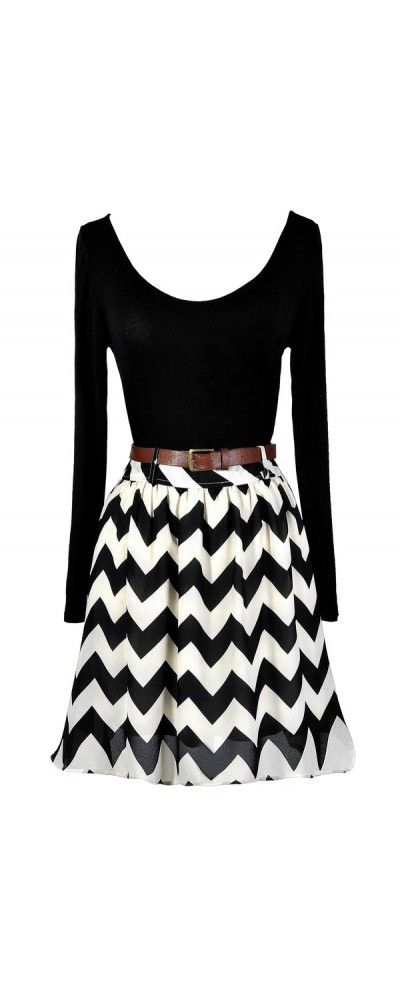 Black and Ivory Belted Chevron Print Dress  www.lilyboutique.com