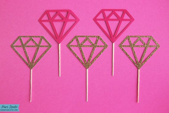 Bookmark! Need these Diamond Cupcake Toppers for the Engagement Party or Bridal Shower! (Set of 12 in any color) by Hues Studio #weddings #cake topper #reception #wedding #cupcake #treat #dessert #food #pick #toothpick #bride #bridesmaid #engagement #party #bridal #shower #frozen #anna #elsa #baby #shower #girl #engaged #bling #ring #custom #pink #gold #silver #diamond #diamonds #love #jewel #gem #princess #glam #birthday #30th #dirty30 #mrs #miss #to #be #diva