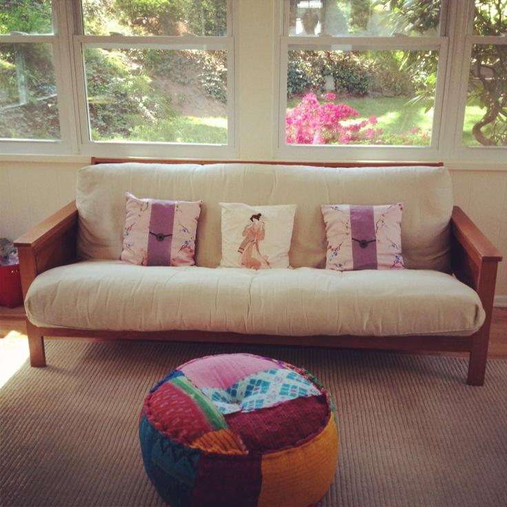 pier 1 living room rugs%0A Pier   Patchwork Ikat Sari Pouf