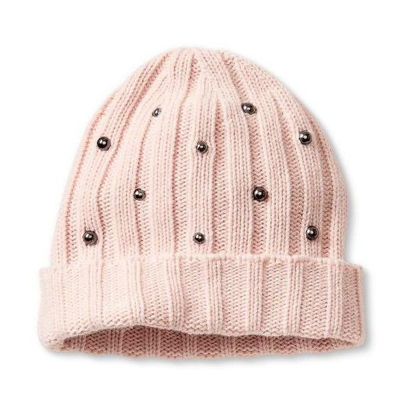 Banana Republic Studded Beanie Size One Size - Pink blush ($50) ❤ liked on Polyvore featuring accessories, hats, pink beanie hat, ribbed beanie hat, studded beanie, banana republic and pink hat