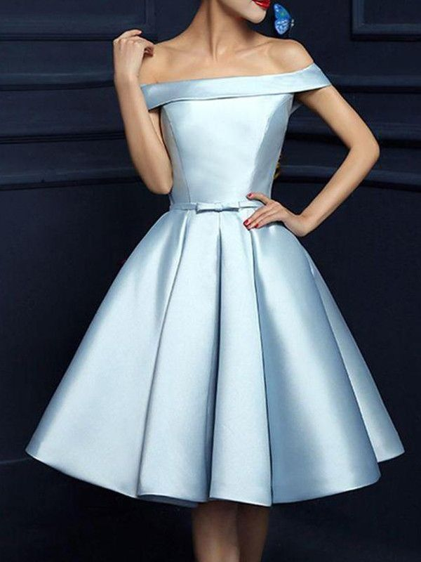 8dc5190d5df Knee-Length A-Line Princess Off-the-Shoulder Sleeveless Satin Homecoming  Dress