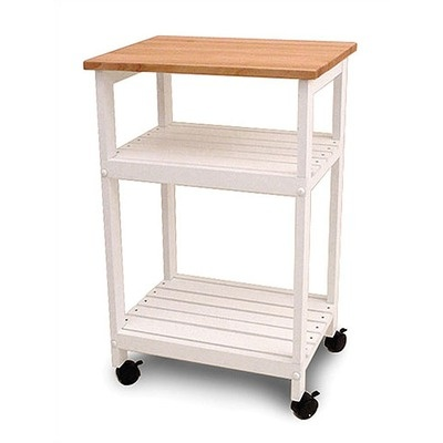utility microwave stand butcher block cart by catskill craftsmen 99