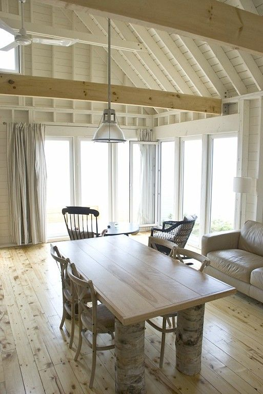 Cape Breton shingled cottage - exposed rafters
