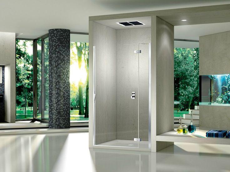 Cabine de duche nicho de cristal com porta articulada Pura 5000 New Coleção Aura by DUKA