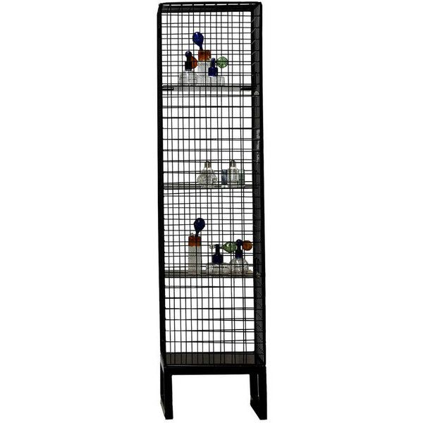 Out There Interiors Narrow Wire Mesh Cabinet In Black (€2.050) ❤ liked on Polyvore featuring home, furniture, storage & shelves, cabinets, onyx furniture, industrial cabinet, storage furniture, black furniture and black cabinet