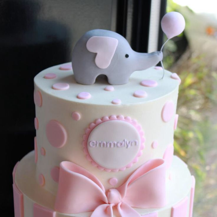 Elephant baby shower cake for girl, love the little elephant on top                                                                                                                                                      More