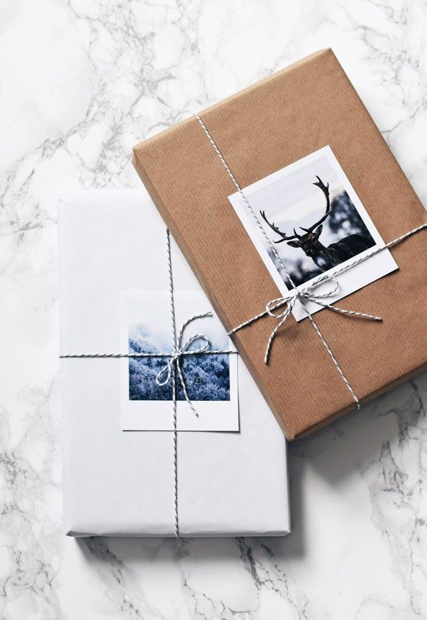 Plain wrapping with photo gift tag.