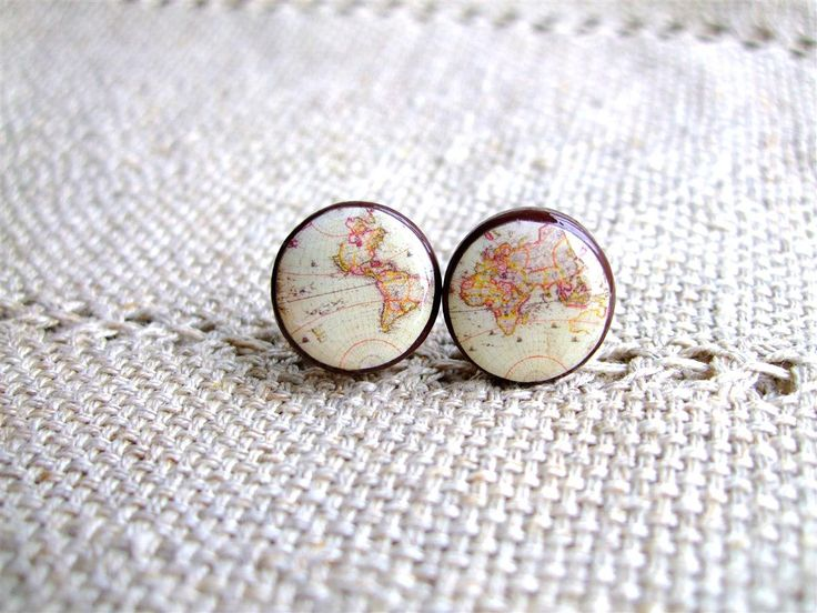 Whole Wide World- Vintage World Map Stud Earrings- Antique World Map- Nickel free stud earrings- Retro Space- Globetrotter- Free shipping. $20.00, via Etsy.