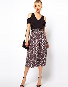 ASOS Midi Skirt in Paisley Print