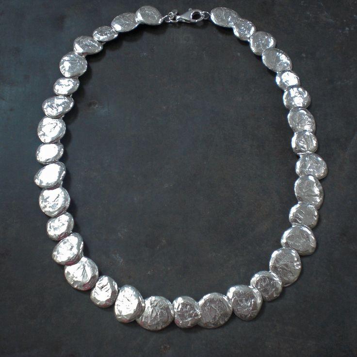 Halsketting zilver met textuur