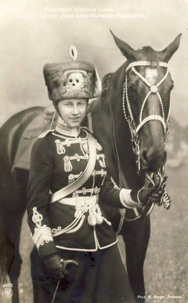 Princess Viktoria Luise of Prussia, only daughter of Kaiser Wilhelm II, was the colonel-in-chief of his 2nd Life Guard Hussar Regiment.