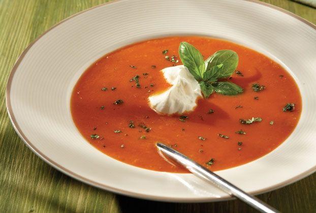 Ντοµατόσουπα βελουτέ µε γιαούρτι (αντί για ζωμό κότας βάζουμε λαχανικών και αντικαθιστούμε το ζωικό γιαούρτι με φυτικό)