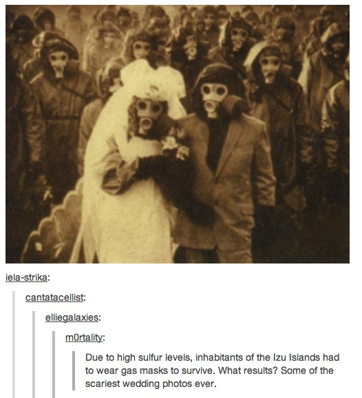 Due To High Sulfur Levels Inhabitants Of The Izu Islands Had Wear Gas Masks Survive Some Scariest Wedding Photos Ever