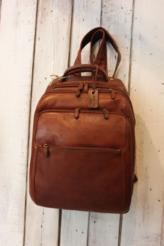 Large  Brown Handmade Italian Leather backpack Chistmas gift di…