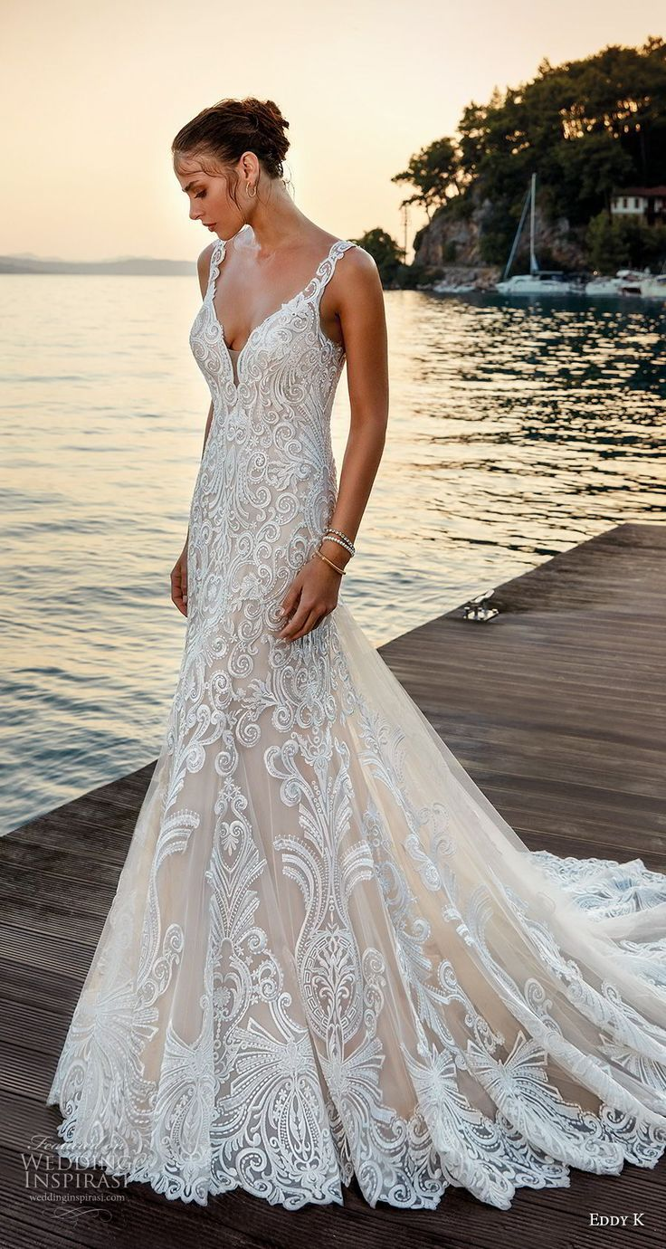 eddy k 2018 bridal sleeveless with strap v neck full embellishment elegant trumpet wedding dress sheer lace back chapel train (27) mv -- Eddy K. Dreams 2019 Wedding Dresses