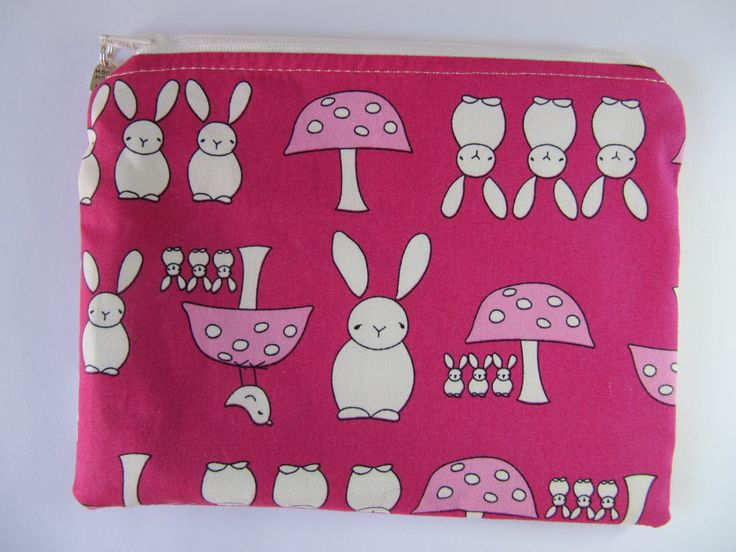 Rabbits & Toadstools Makeup Bag, Cerise Cosmetic Purse, Pink Zip Purse, Bunny Zip Pouch by BobbyandMeSew on Etsy