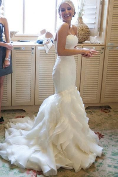 91f53e39186e Hot Sale Wedding Dress, Mermaid Sweetheart Court Train Organza Wedding Dress  in 2019 | Bridal wear | Wedding dresses, Wedding dress organza, Light  wedding ...