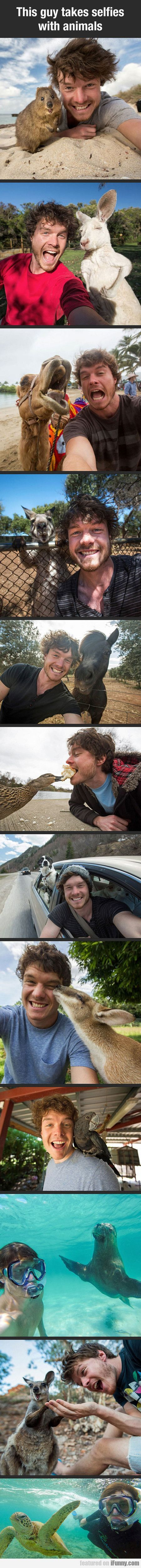 This Guy Takes Selfies With Animals #Funny-Pics www.flaproduction...