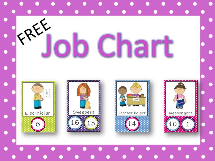 I hope you can use the jobs in this file! If so, you have a really great way to display a job chart in your classroom! Just print out the cards and laminate. Next, laminate the number cards. After assigning your students a number, have them pick a job. Attach the number circle to the job card with velcro. Velcro will allow you to change the jobs easily each week or month.
