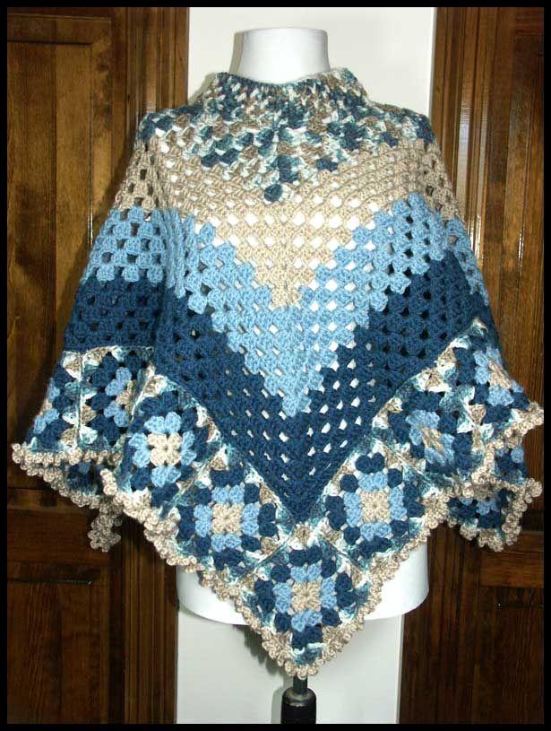 Granny Square Poncho mooie hals. Geen patroon maar mooi ...