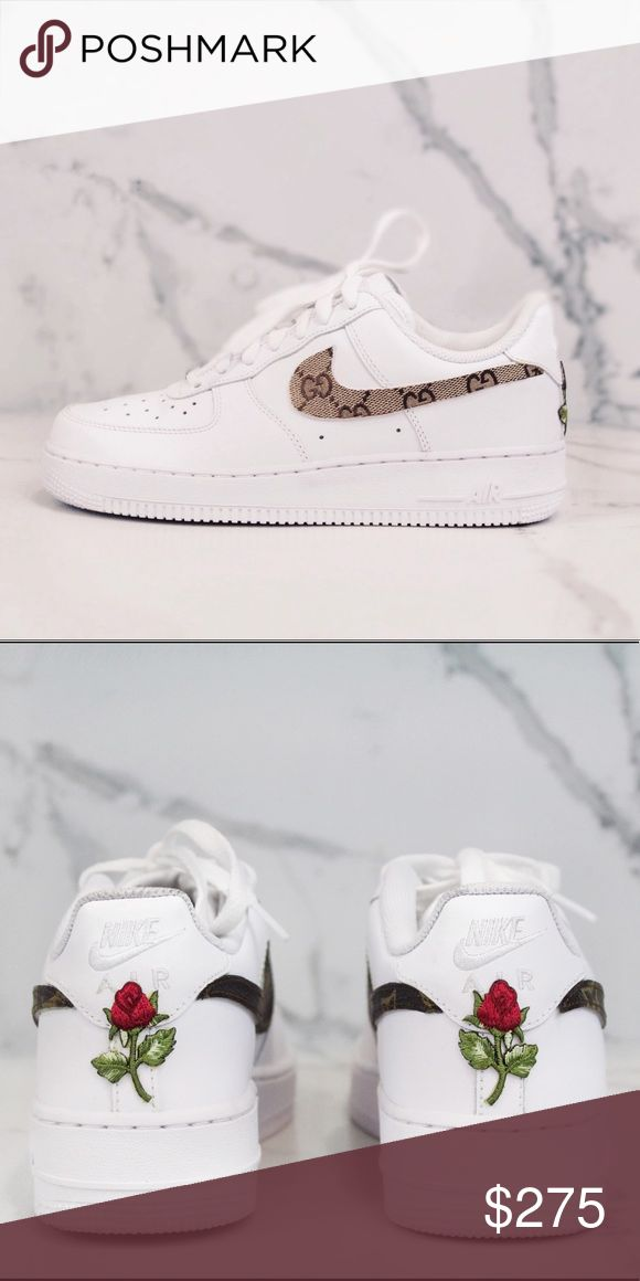 Custom Low Top Nike Air Force One vintage Custom Nike Air Force One with Rose Patch on back  never worn Nike Shoes Sneakers