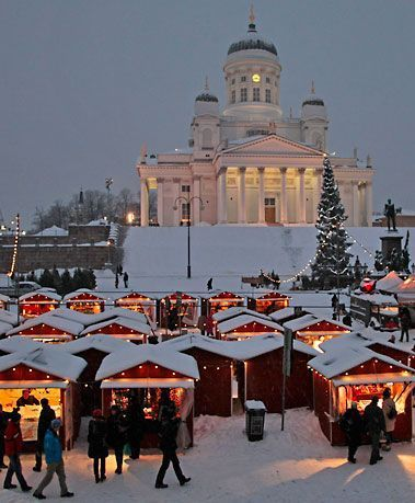 The St. Thomas Christmas Market in Helsinki, Finland.