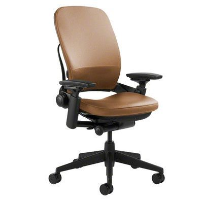 Steelcase Leap® High-Back Leather Desk Chair Upholstery: Steelcase Leather - Camel, Arms: Height, Width, Pivot and Depth Adjustable, Casters: Stand...