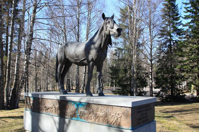 Suomenhevonen - Finnhorse. A statue to honor the Finnhorse breed which was developed fully in Finland.