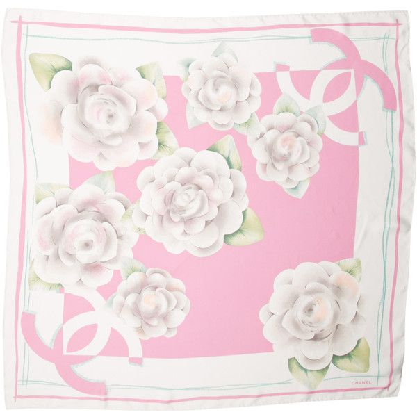 Pre-owned Chanel Camellia Silk Scarf ($195) ❤ liked on Polyvore featuring accessories, scarves, white, silk shawl, print scarves, chanel, colorful scarves and pink scarves