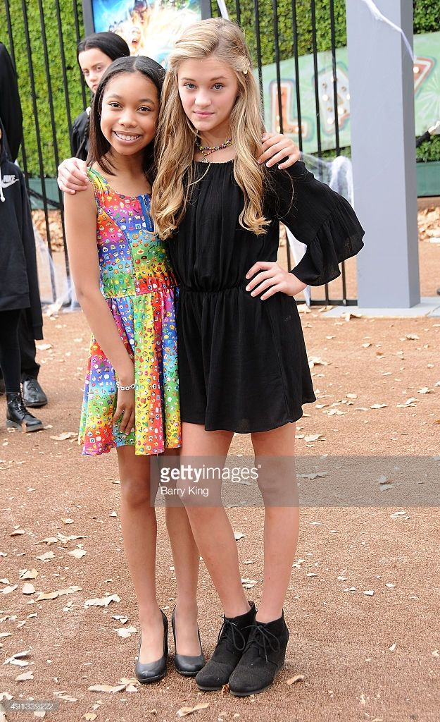 Actresses Kyla Drew Simmons and Lizzy Greene attend the Premiere Of Sony Entertainment's 'Goosebumps' at the Regency Village Theater on October 4, 2015 in Westwood, California.