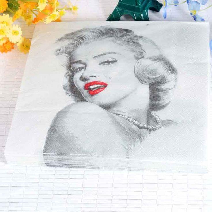 20 stks/partij Marilyn Monroe Papier Servet verjaardagsfeestje & festival bruiloft decoratie benodigdheden weefsels man favor 33 cm * 33 cm