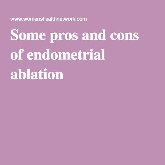 Some pros and cons of endometrial ablation