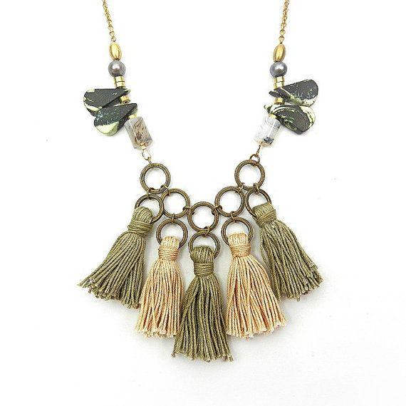 Rustic Bohemian Tassel Necklace - Tassel Bib Statement Necklace - Olive Khaki, Boho Jewelry