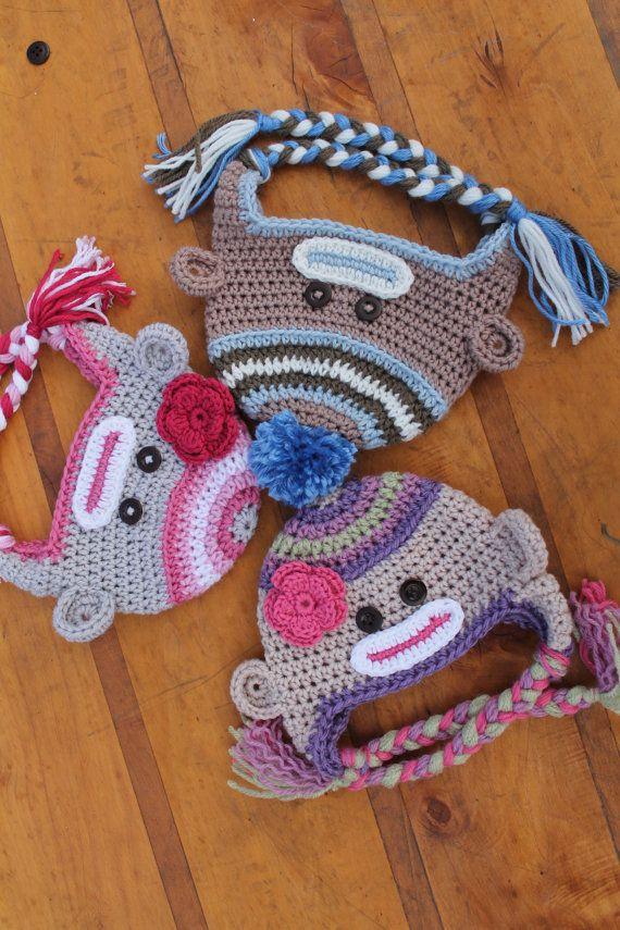 Sock Monkey Crochet Hat Pattern Girls and Boys by Inventorium