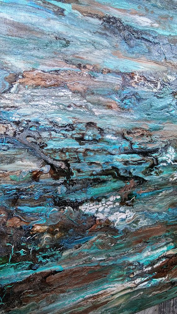 Teal Abstract Texture Painting 24 x 30 Marble Patina Canvas
