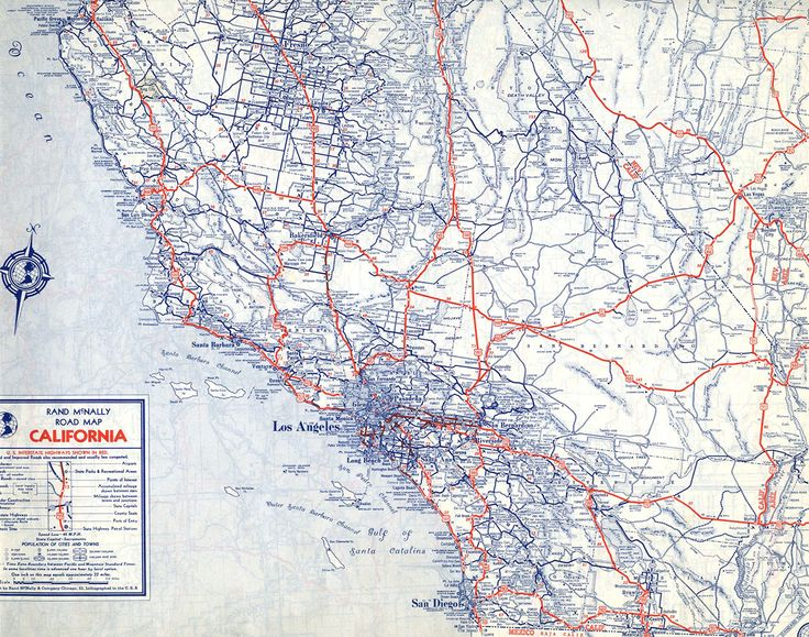 U S Numbered Highways Appear Prominently In This 1940 Rand Mcnally Road Map Of California Courtesy