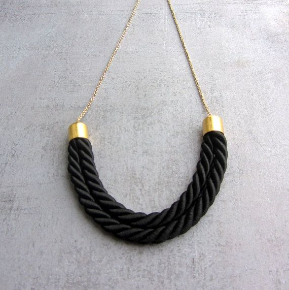 Statement gold chain thread choker necklace with by arrowsrain, $29.00